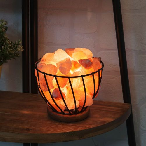 Himalayan Rock Salt Lamp - Coal Fire effect basket lamp